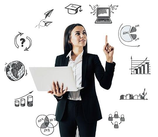 Guide Die beste CX Software auswählen - Beitragsbild - CX Software auswählen Guide - Wie gehe ich vor - junge Unternehmensberaterin mit Symbolen aus dem Berufsalltag