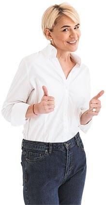 NPS Software – Beitragsbild - NPS-Software ist DSGVO-konform - Frau mit Daumen rauf