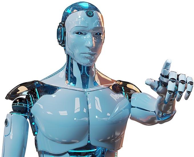 RPA Robotic Process Automation - Beitragsbild - digitaler Assistent Roboter zeigt mit Finger KI